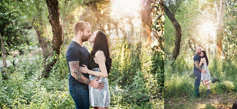 kissing engaged couple