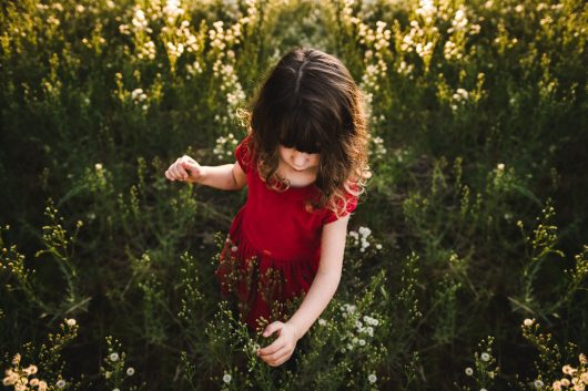 A little girl in red in field of flowers sun beaming down on her sacramento ca photography